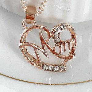Jewelry - Rose Gold Mom Necklace Open Heart Rhinestones NEW